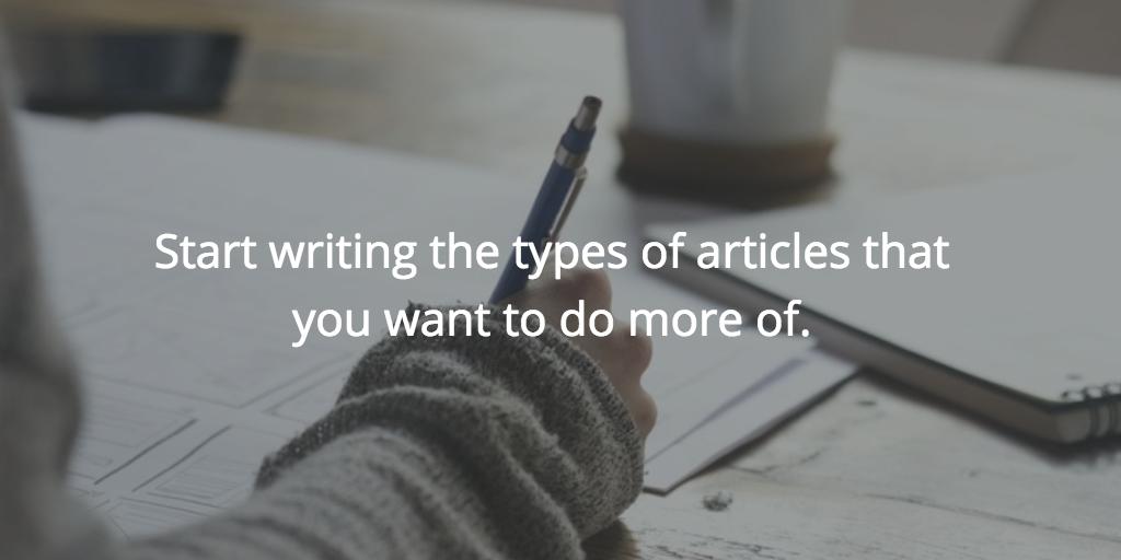 Start writing the types of articles that you want to do more of